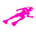 diver sticker SF-1 165 x 70 / pink