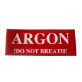 Label ARGON do not breathe!