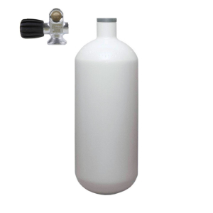 Stahlflasche, Monoventil (Rubber Knob links) 232 bar 2 Liter konvex weiss