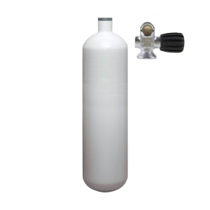 Steel cylinder, monovalve (Rubber Knob right) 232 bar 3 litres convex white